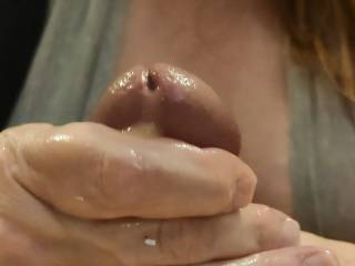 Love it when my hand gets nice and sticky with cum. This cumslut enjoys milking her man. Look at that wonderful cum! Now to get the rest of that cum from my man's gorgeous cock. Mmm...