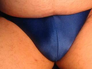 Shiny blue posing suit makes my bulge look good
