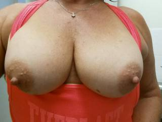 I think orange makes my boobs look bigger...But your cock makes my nipples hard!