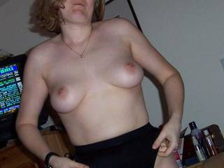 Me wife Alison getting dressed and showing off her boobs.