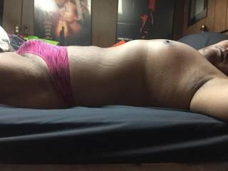 pink pattern thong bulge