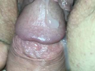 This was taken from a video. I already pumped a few shots in her pussy and this is right as I pulled out. That cum splashed off her clit and back onto the head of my cock. I need someone to lick us clean, who wants it?