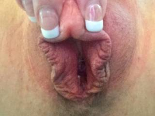 No trouble finding THIS clit, right?!?!  Big as my fingernails!  Wouldn't you love to suck on that? 💋👅💦