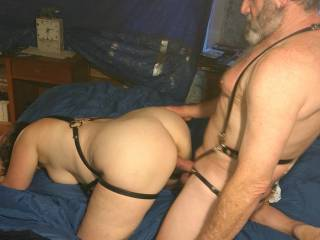 With one hand on that great ass of hers I slow begin to drive my cock deep inside her.