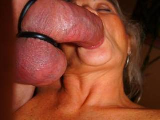 Wow, we love this shot. Cock and balls look fantastic going into that gorgeous mouth!!...xx