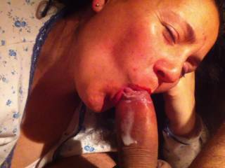 Superb! I loved watching this gorgeous woman smiling and having fun with your cock. Thanks for showing that she didn't stop giving you pleasure the moment you came in her mouth, in my opinion she gave you the perfect finish to a blow-job. :-)