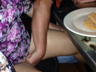 Miss Demeanor getting fingered under the table by a stranger we met at the bar