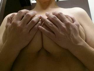 Would love for u to lay your big tits on my head while I kiss and play with your belly.