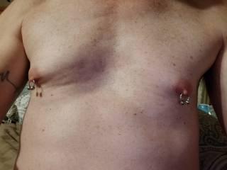 Both nipples pierced
