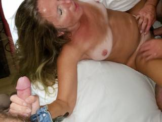 The boyfriend fucking me and I\'m warming up the hubby\'s cock to get sloppy 2nd\'s. They fucked me well. Who\'s next with a big cock and cum load???