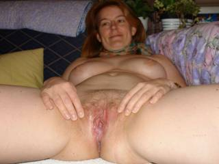 My unsuspecting wife shows her fucked cunt