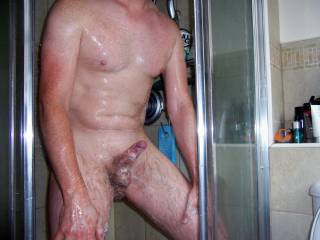 Still lathered in the shower. Who\'s gonna get me dirty and clean at the same time?