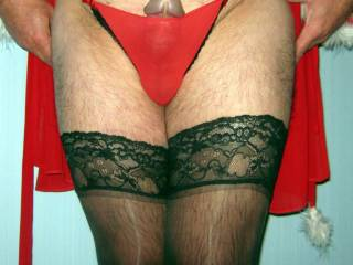 sexy panties, sexy cock, sexy legs in stockings...what more could I ask for?