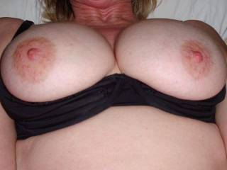 Wonderful tits. They look really big for C's. They'd look much better with my hot ropy load decorating them.