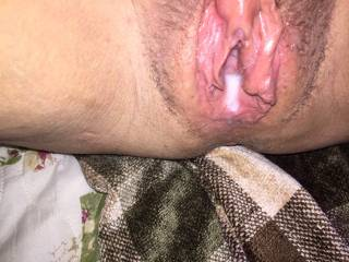 Hubby\'s cum running out. Want him cum in you?