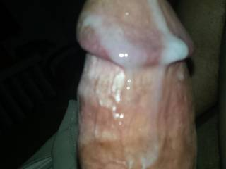 Very Nice cum covered cock!  Shall I clean you up?  Or, maybe since it's already lubed, you would like to slide into my wet, creamy pussy?
