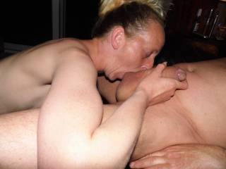 Joanne getting our friend ready for part 2 by sucking his cock & balls