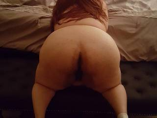 Taking a pic of her presenting that thick & round ass doggystyle. What can i say, she loves to fuck.