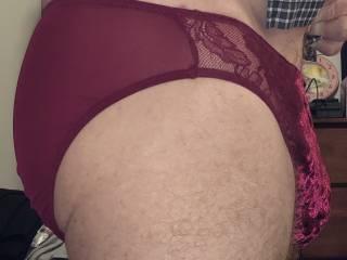 Red sheer back with velvet front