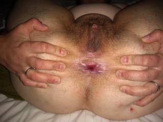 My wife spreads her ass so I can eat her ass and pussy