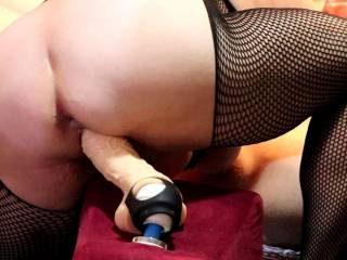 She loves to mount up and stretch her pussy on a huge dildo.. after a bit of play, she invites me in to stretch her further at the same time with the toy... we are only interested in comments from other couples please