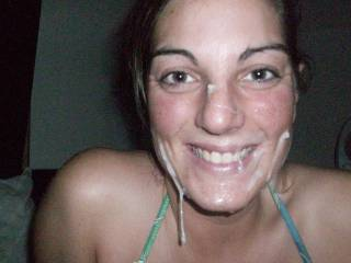 Lucky guy! Girlfriend is sexy and I love the big smile on her face while covered in cum! She has awesome tits