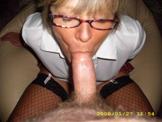I definitely think she needs a second cock to lick and suck and cum in and on her at the same time. She looks truly lovely by the way with that cock in her mouth - a truly lovely sexy woman :)