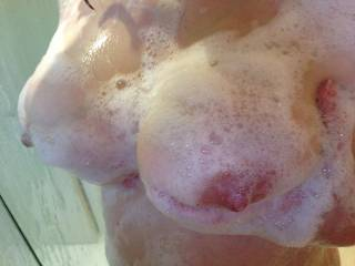 Love to make your sexy big tits nice and soapy then slide my cock between them
