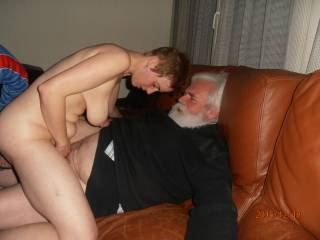 OMG!! Your fucking Santa Clause!! He has a great view of your hanging tits! And so do we!