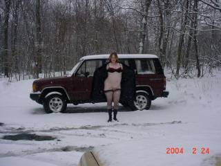 Here is my wife again when she was pregnant and still flashing.  Another shot of her posing with a strangers car that was parked there when we got there.  Hoping her was around somewhere watching us.