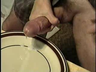 Mmmmm, now that's what I call a sexy meal....hot tube stake (your cock) and some warm cream to put on it.  I would eat all of your cock and suck up all that delicious cock cream and even lick the plate. MILF K