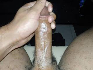 Close up view of my hard hairy cock.