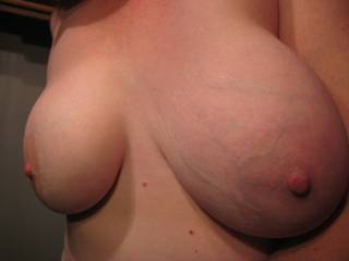 LOVE your full tits and seeing your veins showing. THAT is HOT!!! I'd shoot my cum all over them. Yummmmm