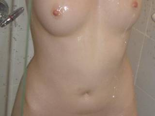 my girls perfect little body getting all wet and horny in the shower