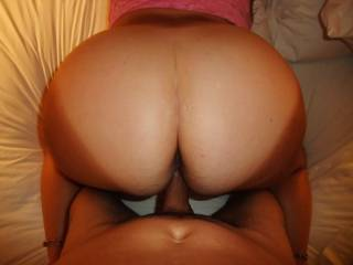 Dramatic tanning lines in a super big and round mature ass