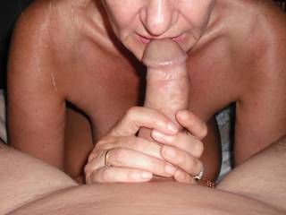 Sucking my Hubby's beautiful smooth thick cock at a Hotel recently.
