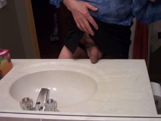 My cock getting hard in my wife\'s panties