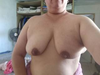 After shower boob show