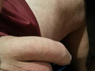 Big thick uncut mouth watering cock, big lickable, suckable balls