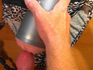 Cumming on her panties and fleshlight as requested! Not my best camera work but I never did this before. Post a cock tribute pic for me (With a picture of you with my cock) ladies and ill do a request for you!