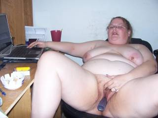 Sexy bbw wife masturbating at the computer when I got home.