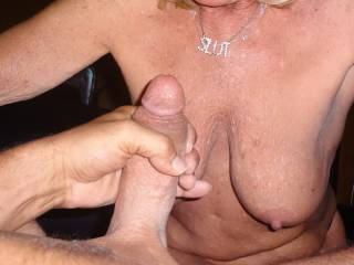 Jerking Off onto her!!