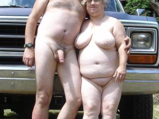 A lovely couple...my wife is about the same height and weight...wish she would treat me like yours does...