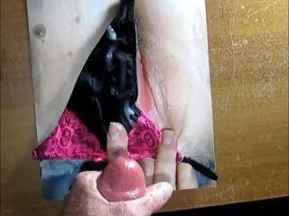 Miz T wanted to see me stroke my hard throbbing cock and feel my warm cum on her pussy while wearing my GF\'s fav panties! Her reward for some very hot reverse cum tribute pics she sent me! POV shot!