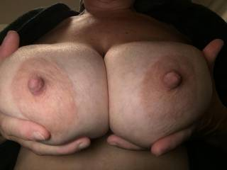 I like the idea of playing with big tits.  Your nipples are great and would be a pleasure to nip at them.