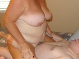 Fucking a white boy and enjoying his young cock, load of cum and desire to use this fat old GILF. Please enjoy and leave comments.
