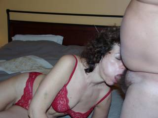 I think you are amazingly talented sucking cock to erotically enjoying his big thick cock bulging hard in your sexy mouth anticipating the release of your sweet n salty reward for spectacular mind blowing job!  Mind if I slide over those sexy hot red panties eating your sweet wet pussy lovin the sound of both you cumming like crazy!