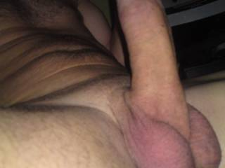 Wow...nice big balls...want to lick and suck those balls....then lick up that thick shaft, around the head...take it in my mouth and balls deep in my throat feeling it swell harder, throbbing then twitching as ypur cum shoot down my throat