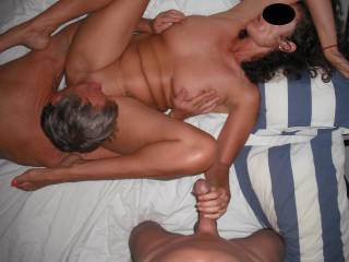 More threesome fun with our swinger friend, when he came around again for a play.