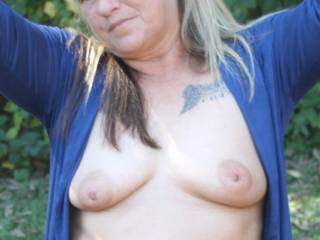 Feeling naughty she went flashing her awesome Tits at a local park, Let us know if you like as much as we do.